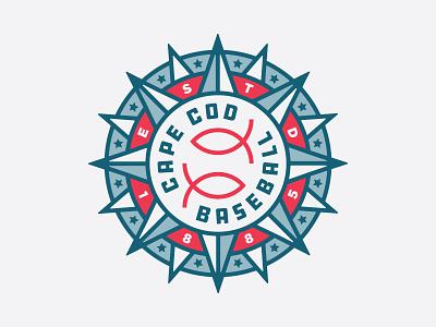 Cape Cod Baseball Badge cape cod sea ocean compass nautical sports baseball fish logo badge