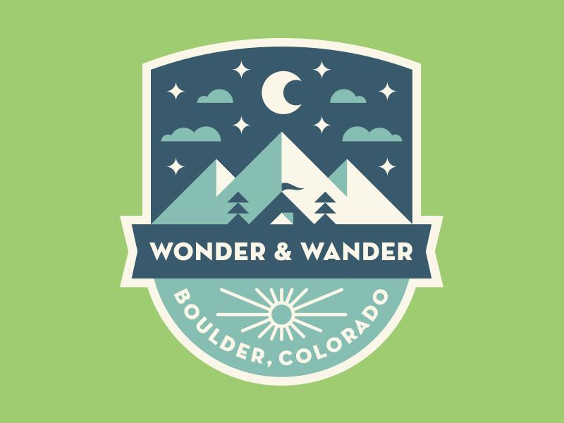 Boulder Badge moon sun mountains nature tent camping boulder colorado patch logo badge
