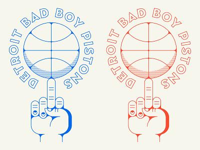Detroit Bad Boy Pistons pistons detroit sports halftone line logo badge middle finger finger hand nba basketball