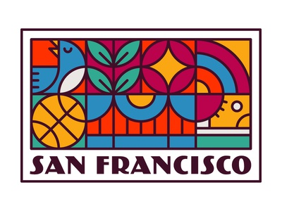 San Francisco icons san francisco bird basketball california golden gate bridge converse shoe shapes line patch badge