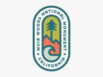 Muir Woods National Monument national park california outdoors nature icon logo badge patch wave mountains tree muir woods