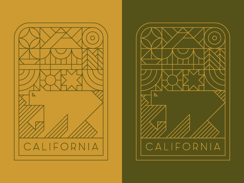 California geometry shapes san francisco boat trees patch illustration line icon logo badge bear outdoors star nature mountains california