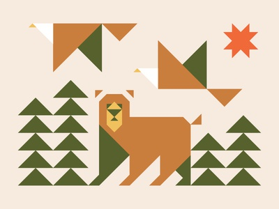 Triangle Nature Scene outdoors forest bird color triangles icons illustration shapes sun trees eagle bear animals nature