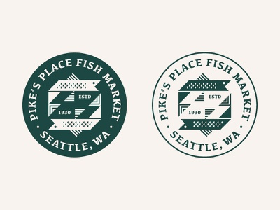 Pike's Place Fish Market triangles shapes ocean fish icon logo patch badge washington seattle pikes place