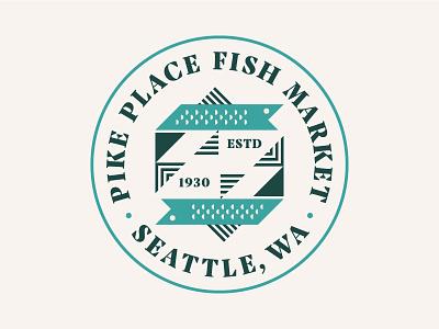 Pike Place Fish Market Badge animal shapes triangle washington seattle sea ocean fish branding brand icon logo patch badge