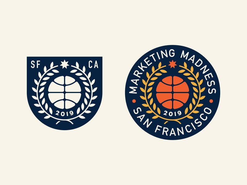 March Madness Badge march madness sports san francisco california plant laurel star patch logo badge basketball