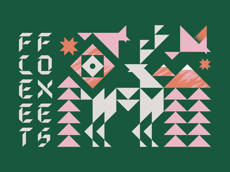 Triangles and Nature texture color nature animals birds elk mountains sun icons shapes triangles poster typography fleet foxes