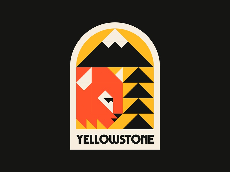 Yellowstone typography triangles shapes mountain tree bison buffalo outdoors nature national park yellowstone patch logo badge