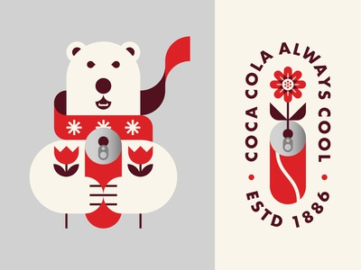 Polar Bear Holding Coca Cola and Flowers illustration snowflakes animal christmas winter scarf icon logo badge flower can coke coca cola bear polar bear
