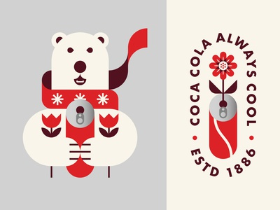Polar Bear Holding Coca Cola and Flowers illustration snowflakes animal christmas winter scarf icon logo badge flower can coke coca cola bear polar bear