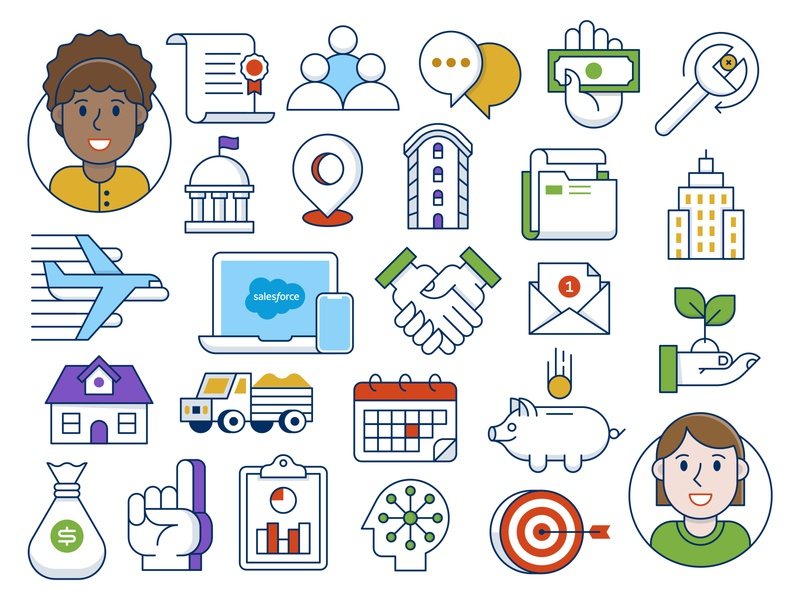 Icon Set person avatar people piggy bank hands laptop airplane building wrench money logo icons icon