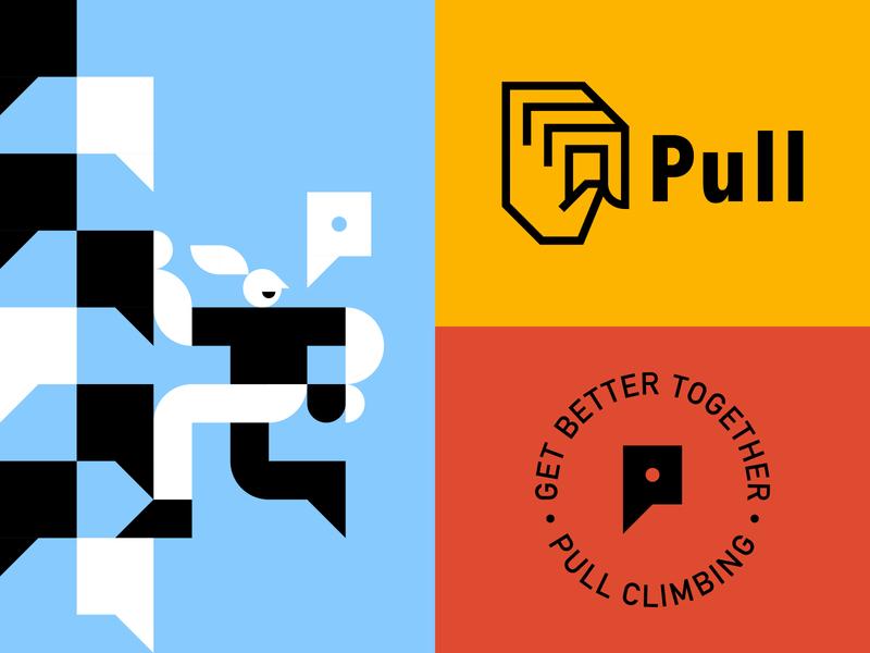 Climbing Brand 2 illustration climb climbing negative space p branding brand shapes character badge icon logo hand
