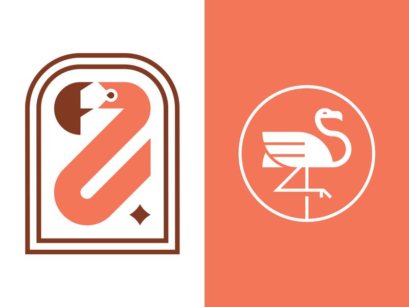 Flamingo Logos illustration identity f star patch badge bird flamingo branding icon logo