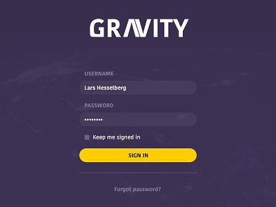 Gravity - Sign-in gravity sign-in login signin dailyui 001