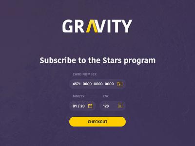 Gravity - Credit card checkout credit card checkout gravity dailyui 002