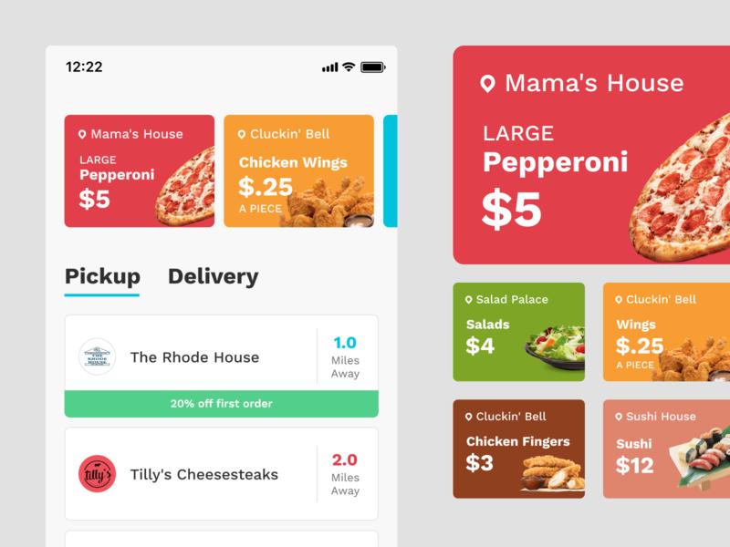 HungryButton – Cards mobileapp cardsui cards foodapp app design ui