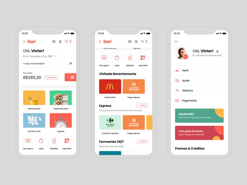 Rappi – Mobile mobile food delivery groceriesapp foodapp superapp ux dailyui app concept design ui