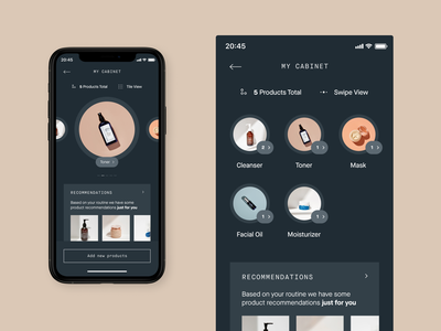 Heyday – Mobile App products shelf cabinet skincareapp skincare beautyapp beauty app concept design ui