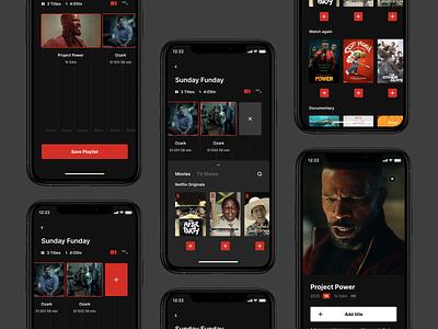 Netflix Playlist – All screens playlistapp playlist movieapp netflix app concept design ui