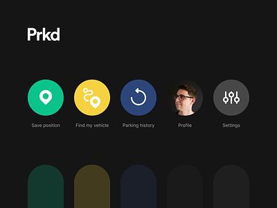 Prkd – Concept App (Icons) darkui lineicons flaticons icon app concept design ui