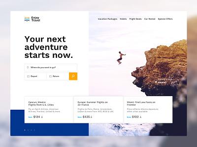 Enjoy Travel ux ui design landing page adventure travel