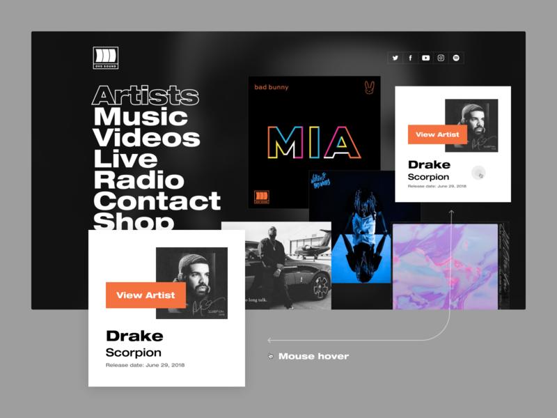 OVO Sound drake landing page cards darkui webdesign website music hover redesign