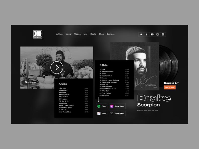 OVO Sound ovo sound record video darkui music drake redesign concept design ui
