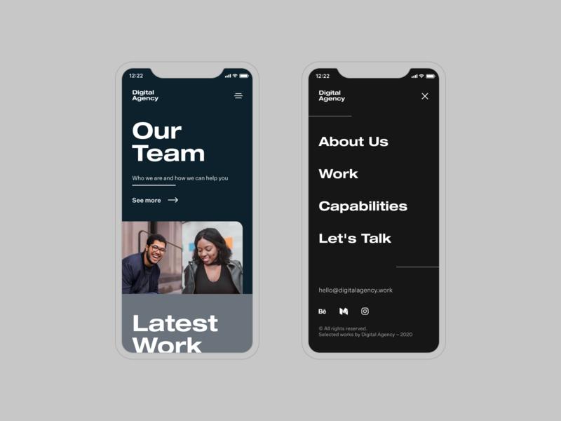 Digital Agency – Mobile mobilewebsite mobileversion digitalagency agencywebsite dailyui design ui