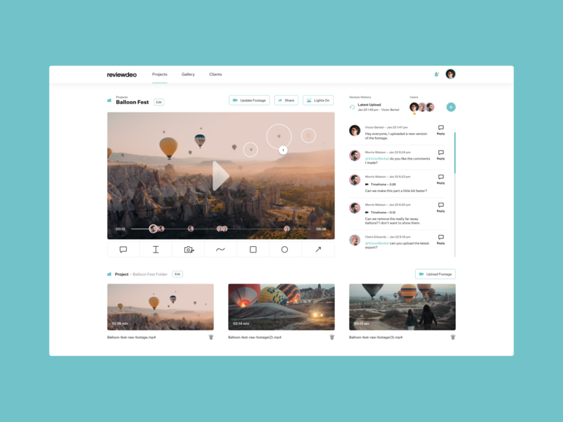 Reviewdeo reviewer comment video video editor video review dailyui concept design ui