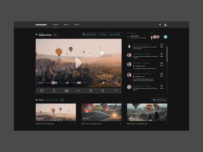 Reviewdeo – Dark UI video review video editor darkui dailyui concept design ui