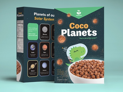 Coco Planets design illustration packaging space dinosaur dinosaur space cereal box cereal