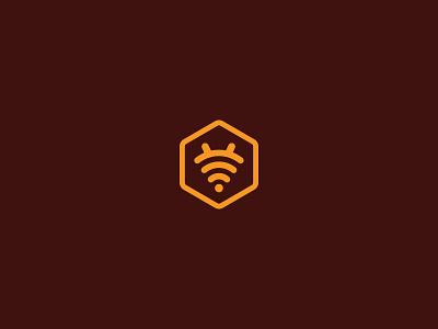 Bee wifi creative minimalism minimal design art icon logo bee