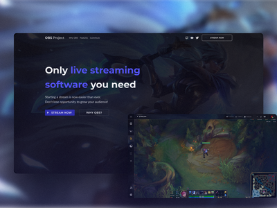 OBS Studio Landing Page Concept clean blue art software streaming app games league of legends colorful landing page gaming gradient blurry observe streaming recording web app concept navigation minimalist