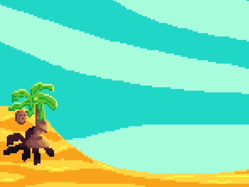 Limited palette beach beach coconut palm pixel art