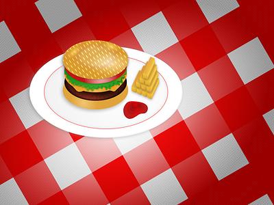 Diner meal fries hamburger diner sketch illustration