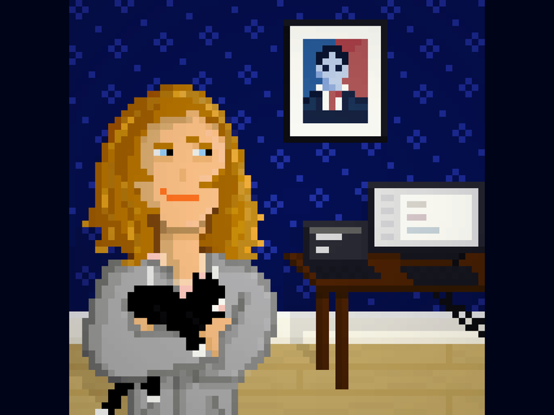 Girl with her cat and computer aseprite pixel art