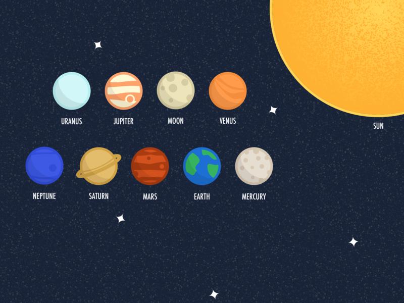 Solar system + Moon sun neptune uranus saturn jupiter moon venus mercury mars earth planets space illustration sketch
