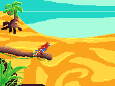 Limited palette beach 2 tropic sand palm parrot beach aseprite pixel pixel art