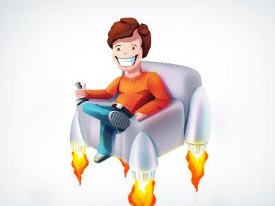 Lazy guy logo character illustration design
