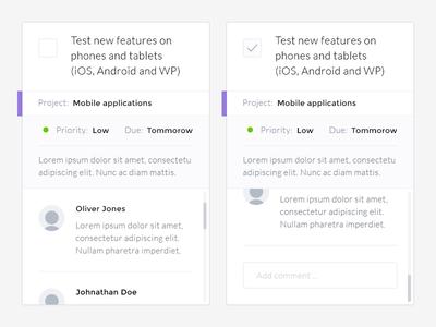 Task Widgets web app flat task todo widget comment scroll textarea input field checkbox tick checkmark