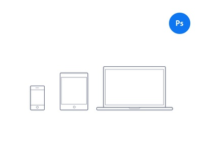 Devices (PSD) freebie free psd photoshop macbook ipad iphone phone tablet laptop illustration icons
