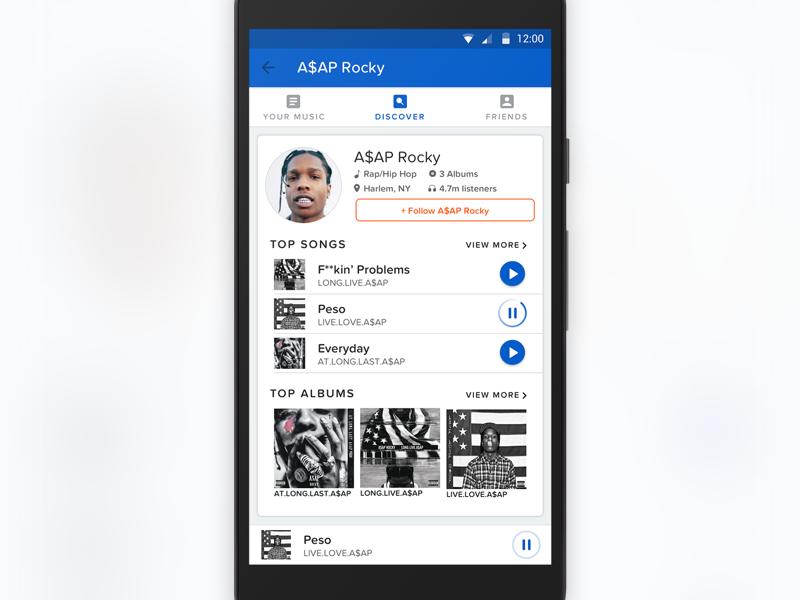 Artist Profile asap rocky interface mobile material design music android ux ui design app