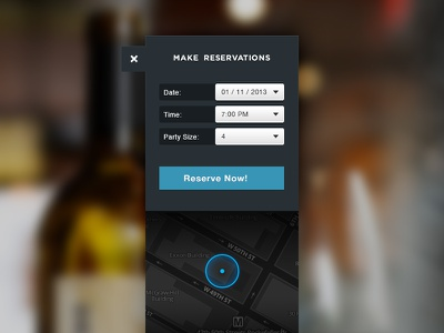 Table Reservations form map button reservation field blue location restaurant ui