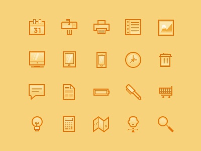 UI Icons [WIP] ui icons cart search profile battery trash pen calculator document light map clock image journal mobile tablet desktop print mail calendar