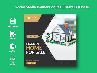 Social Media Banner For Real Estate Business. sale design graphic design branding twitter social media post