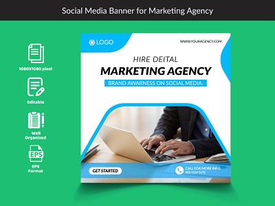 Social Media Banner For Marketing Agency vector