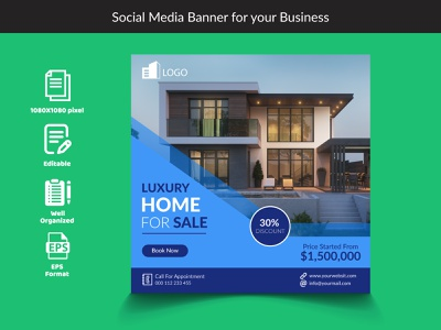 Social Media Banner For Your Business. home blue corporate instagram post abstract graphic flat typography thumbnail social design illustration graphic design twitterpost branding banner eps vector