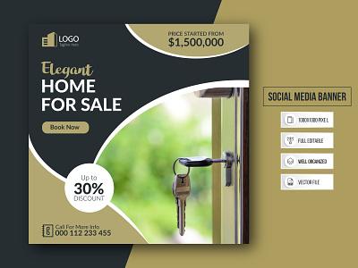 Social Media Banner For Real Estate Business. motion graphics 3d animation ui logo branding graphic design