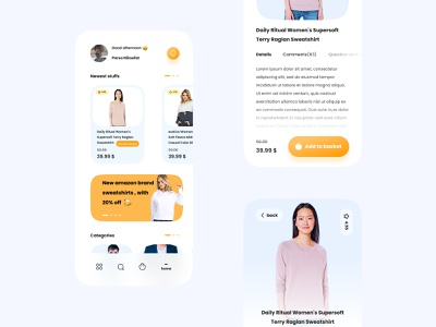Dribbble shot HD   1 e-commerce app e-commerce user interface e-shop glassmorphism cta amazon cloth product page userinterface minimal