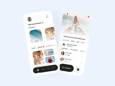 Stock photo app concept unsplash app product page minimal ui stock photo